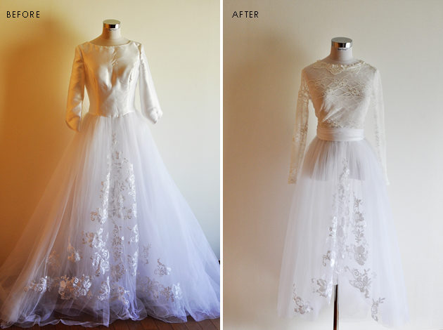 before and after pictures of tulle wedding dress