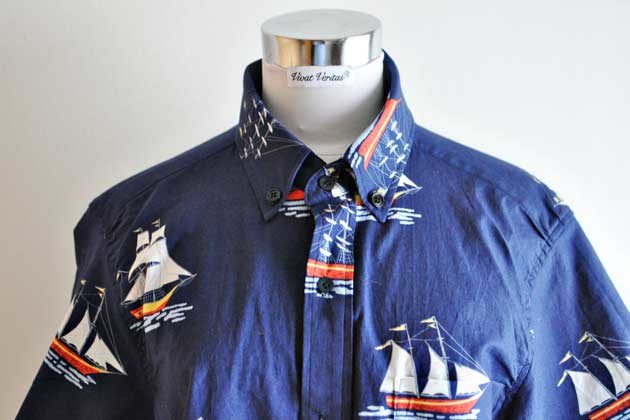 boat print mens buttondown