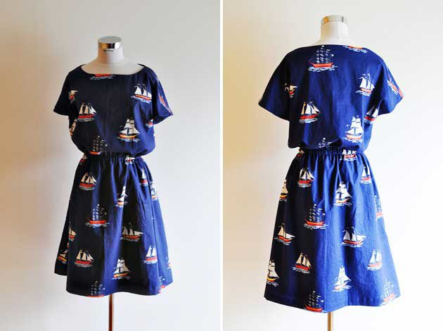 front and back boat print dress