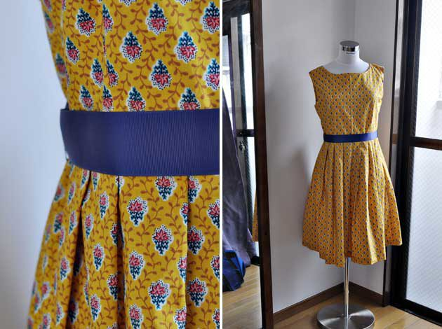 liberty print yellow cotton dress