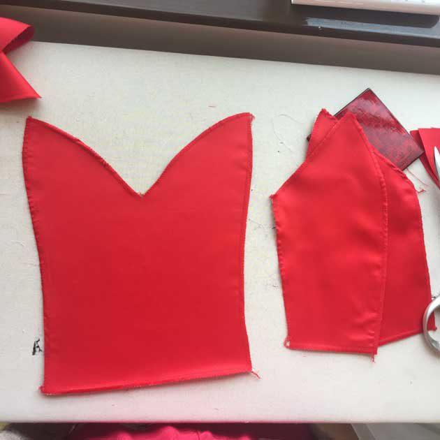 sewing red carpet dress