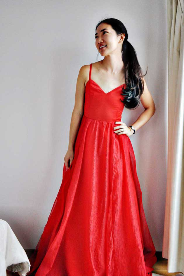 handmade red showstopper dress