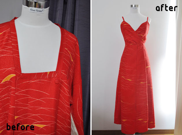 red kimono dress before after