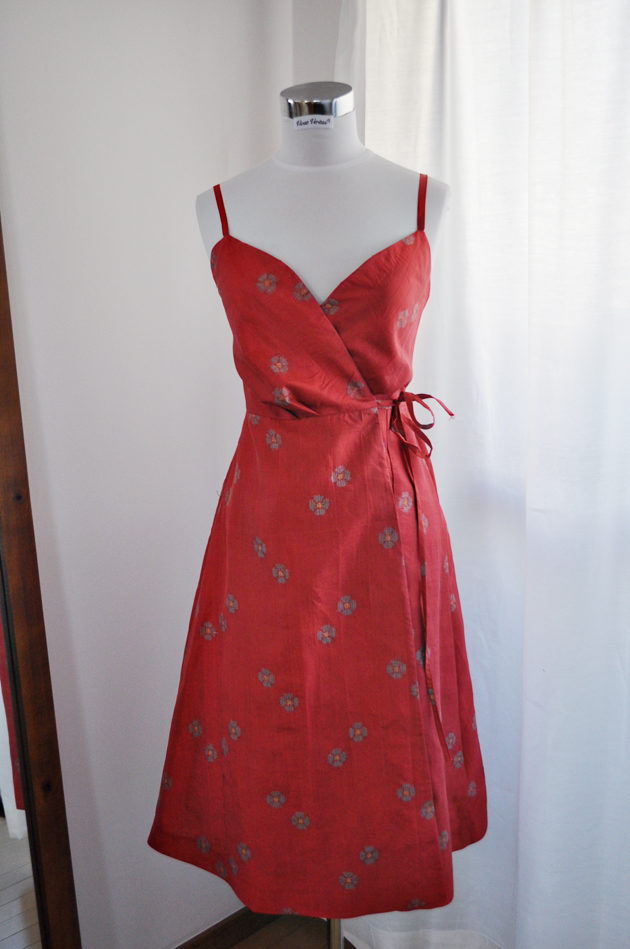 pinkish red kimono dress