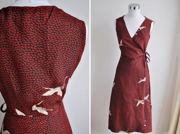 bird print silk dress