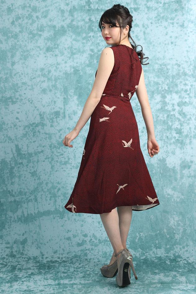 crane print kimono dress