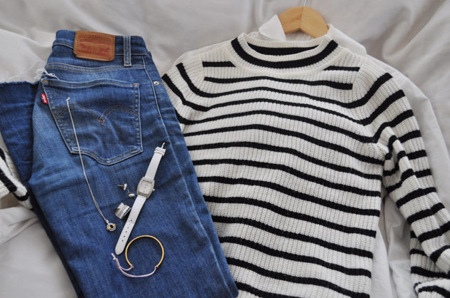 striped shirt and levis denim